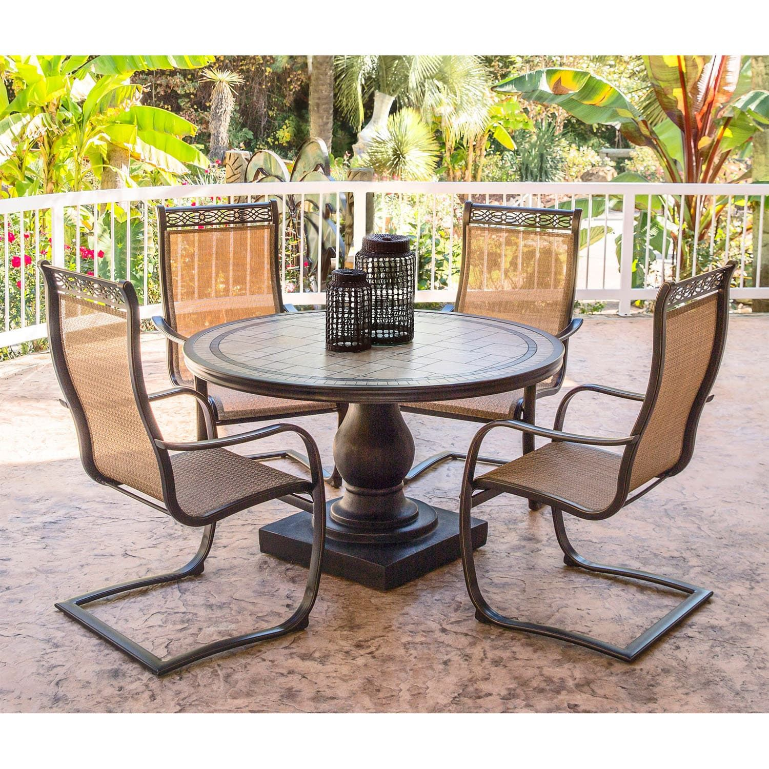 Hanover Monaco Golden Bronze Aluminum 5 Piece Outdoor Dining Set With  C Spring Chairs And Tile Top Dining Table (Tan), Size 5 Piece Sets, Patio  Furniture