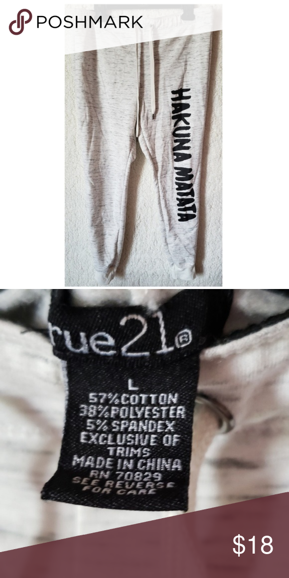 Rue21 Hakuna Matata Joggers Large Clothes Design Hakuna Matata Jogger Pants