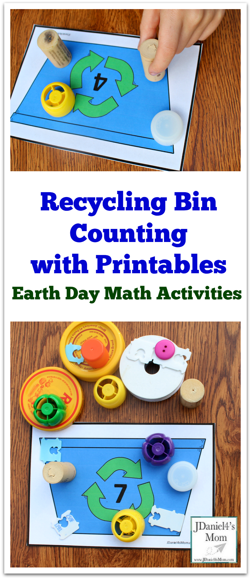Earth Day Math Activities Recycling Bin Counting With Printables Kids Will Love Explori Recycling Activities For Kids Earth Day Activities Recycle Preschool [ 1907 x 828 Pixel ]