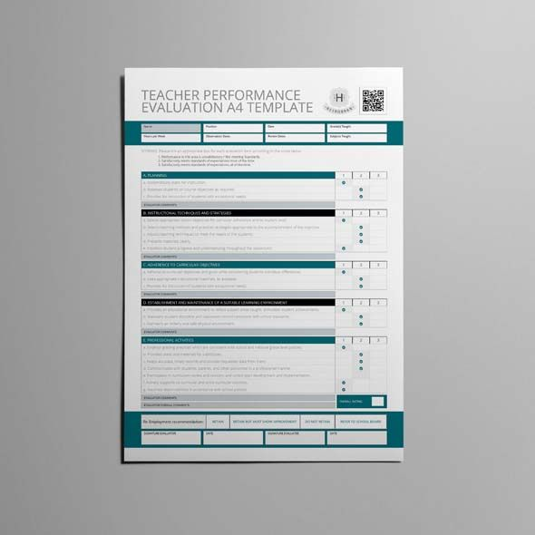 Teacher Performance Evaluation A4 Template CMYK \ Print Ready - performance evaluation