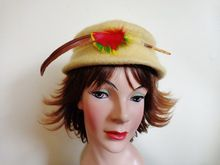 Hat Yellow Wool Felt Vintage 1950's Merrimac Pillbox With Feather  $20  http://www.rubylane.com/item/676693-A776/Hat-Yellow-Wool-Felt-Vintage