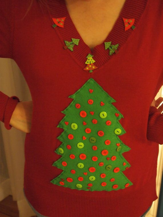 VNeck Christmas Tree Sweater #HeartFeltSweaters #sweater #christmassweater #christmas #holiday #tackysweater #uglysweater