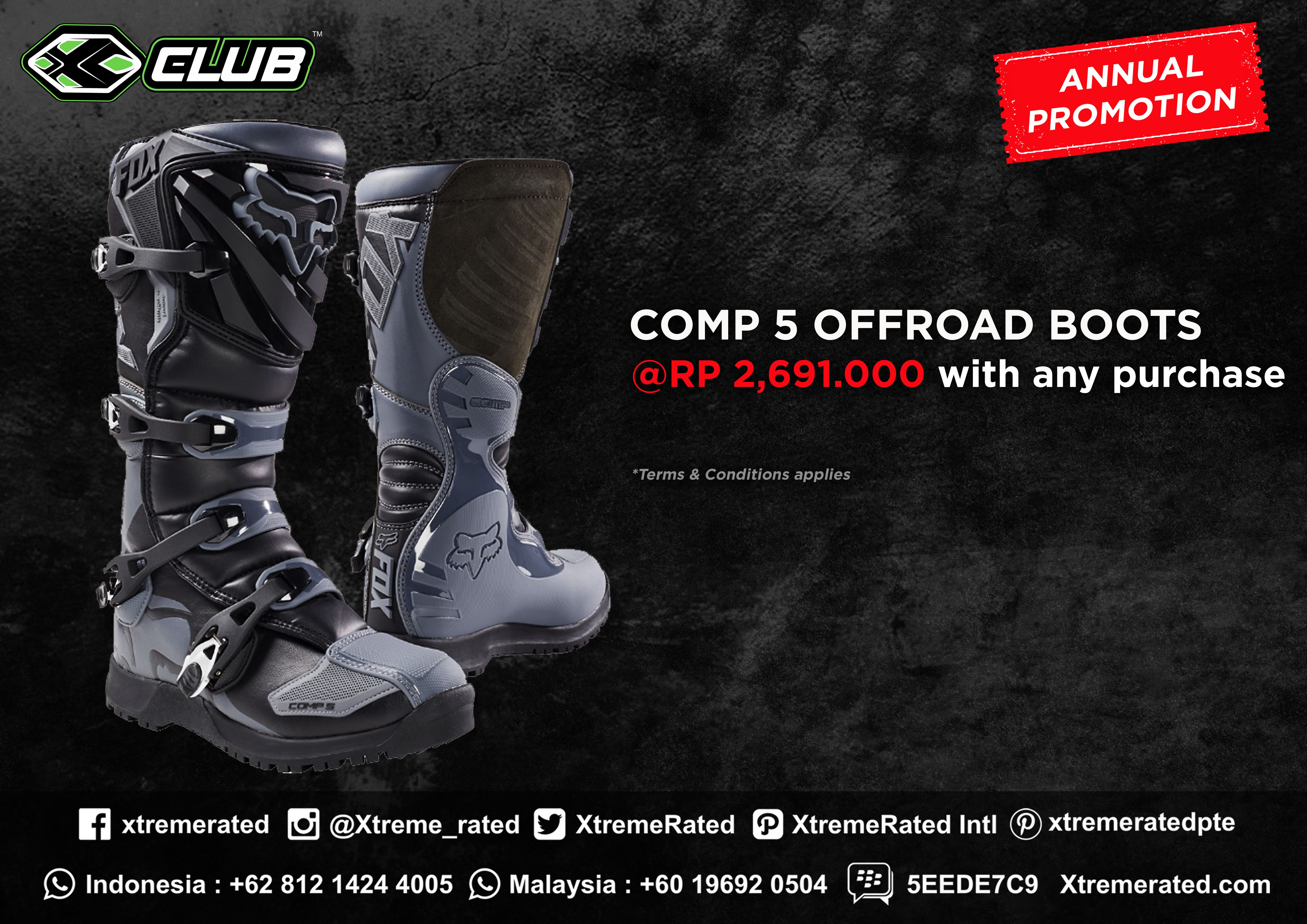Annual Promotion Fox Comp 5 Offroad Boots Only Rp2 691 000 With Any Purchase Grab It Fast Available In All Xclub Leading Stores Xtremerated Xclub Foxracing