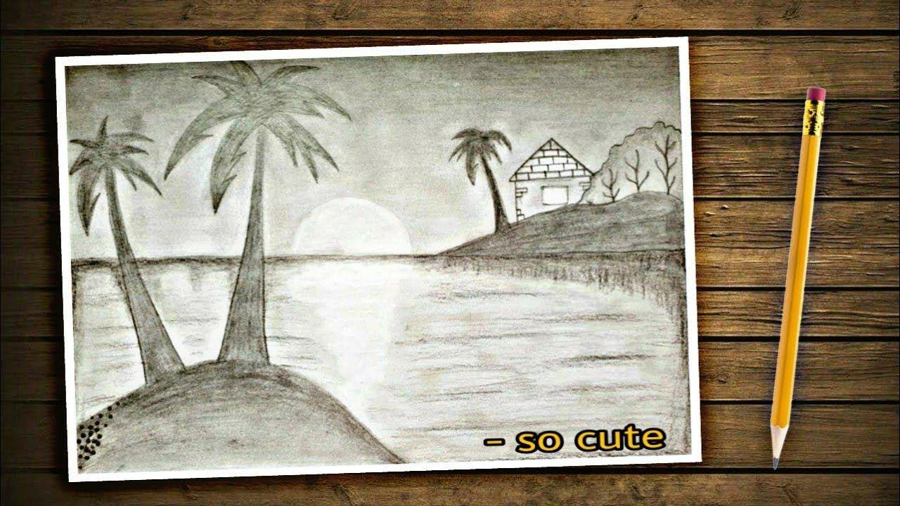 تعليم الرسم رسم بقلم الرصاص فقط رسم منظر طبيعي سهل لغروب الشمس بقلم Art Painting