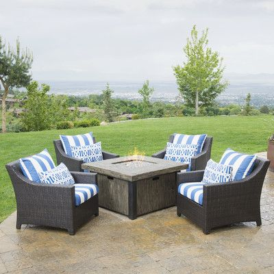 Three Posts Northridge 5 Piece Fire Pit Set With Cushions Fabric: Charcoal  Gray