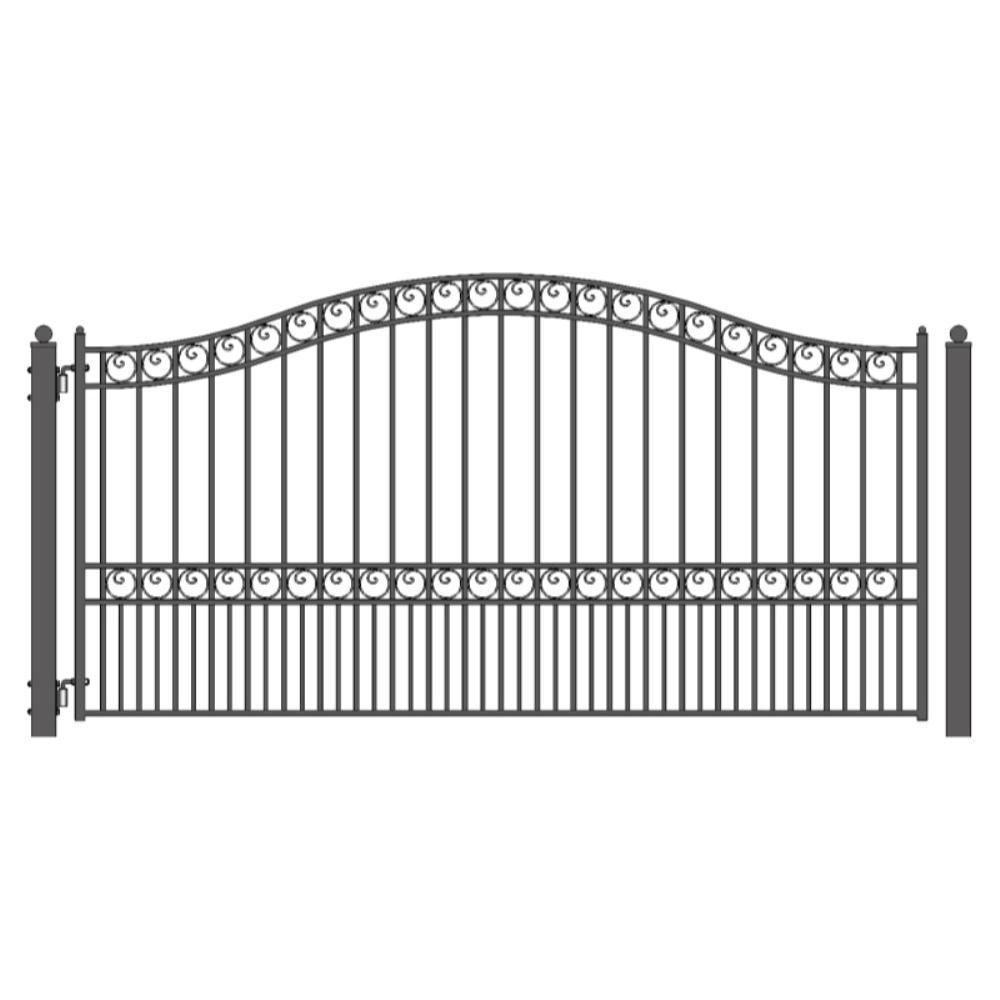 Aleko Paris Style 14 Ft X 6 Ft Black Steel Single Swing Driveway Fence Gate Dg14parssw Hd The Home Depot In 2020 Wrought Iron Driveway Gates Fence Gate Single Swing