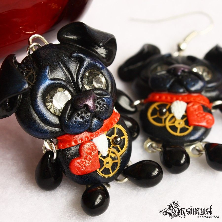 0370e87f60f www.sysimust.com Set of jewelry Earrings with polymer clay steampunk dogs.  Polümeersavist voolitud koertega kõrvarõngad