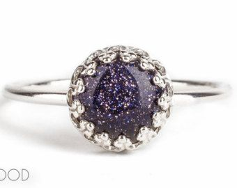 CONSTELLATION - Gemstone ring with blue Goldstone in Sterling Silver - Made in your size