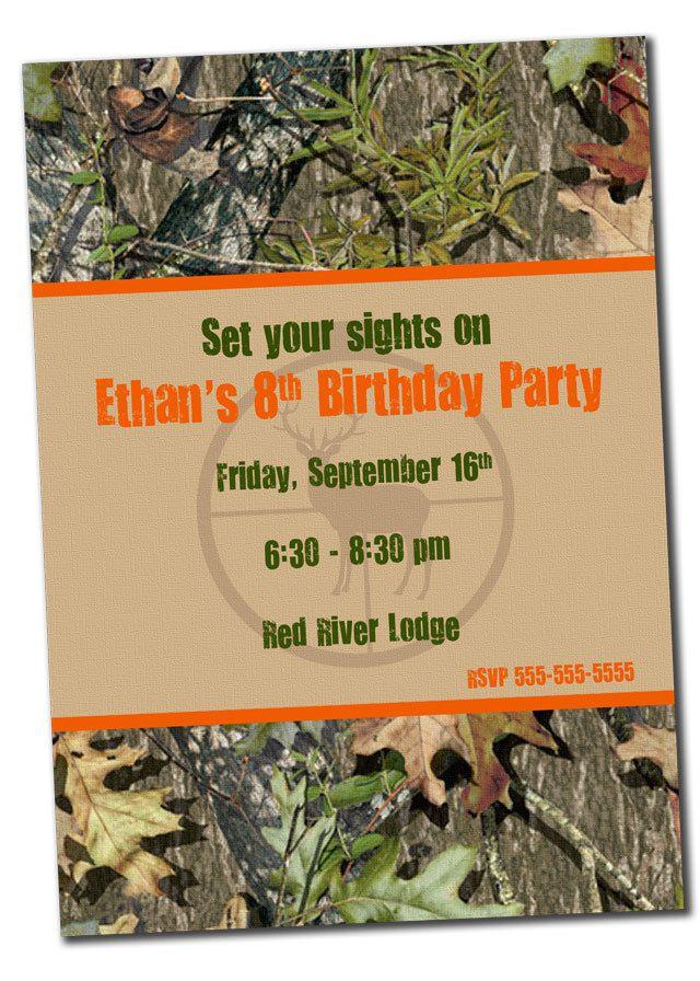 Printable Hunting Birthday Invitation for Boy- Deer Camo. $10.00 ...