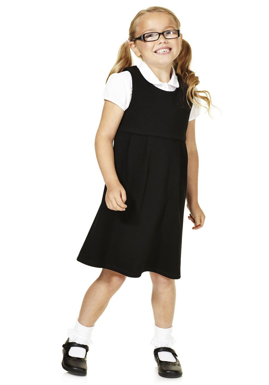 A comfortable and smart alternative to a school skirt, this soft touch pinafore with added stretch is ideal for younger girls. The school pinafore slips on with a round neck and features pleats at the front.