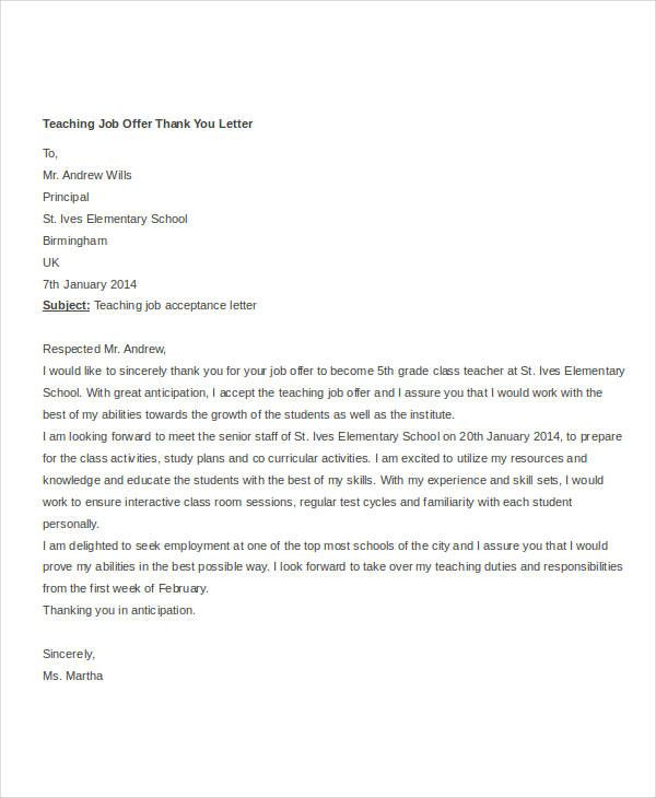 Thank You Letter After Offer Thank You Letter For Job Offer  Template  Pinterest  Job Offer .