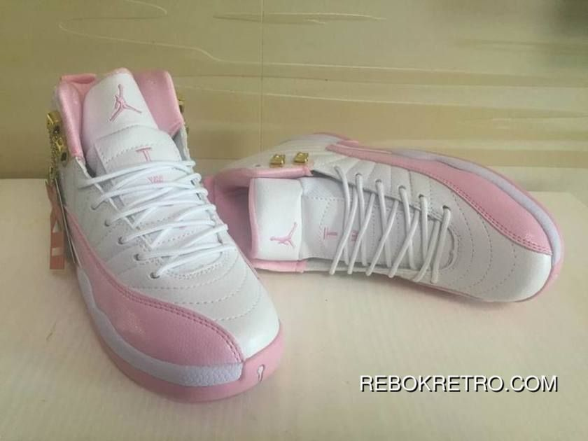 Women Best Air Jordan 12 GS White Pink Shoes  7d9dd9887