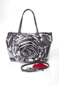 Valentino  Silver Sequin 3D Rose Petal tote bag