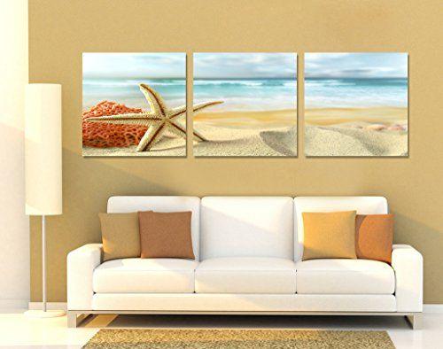 Spirit Up Art Huge Home Decorations Starfish On Beach Canvas Print
