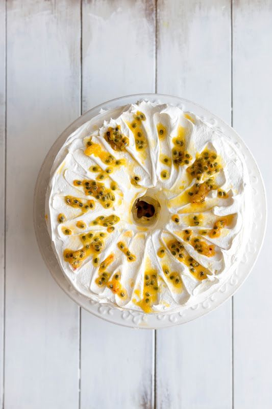 Milk and Honey: Angel Food Layer Cake with Lemon and Lime Curd, Saffron Italian Meringue Frosting and Passionfruit