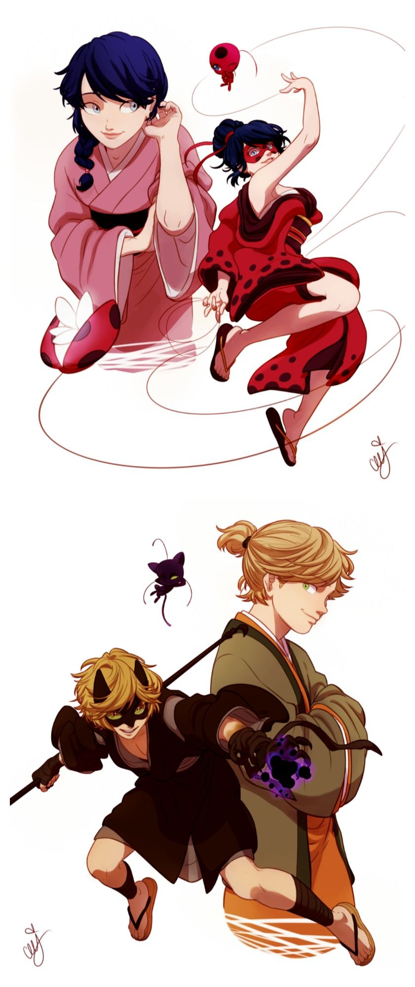 Edo era ladybug and chat noir miraculous ladybug the miraculous tale of a ladybug and a cat - Chat noir dessin ...