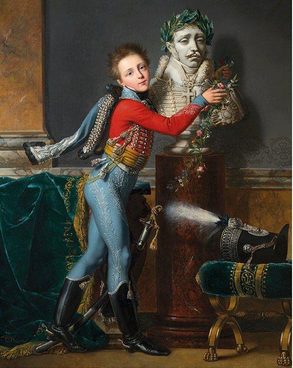 Alexandre-Jean Dubois-Drahonet (1791-1834). Portrait du baron d'Edouard César Luron de Deban de Laborde (1804-1851), en tenue à la hussarde pour enfant, 1817.