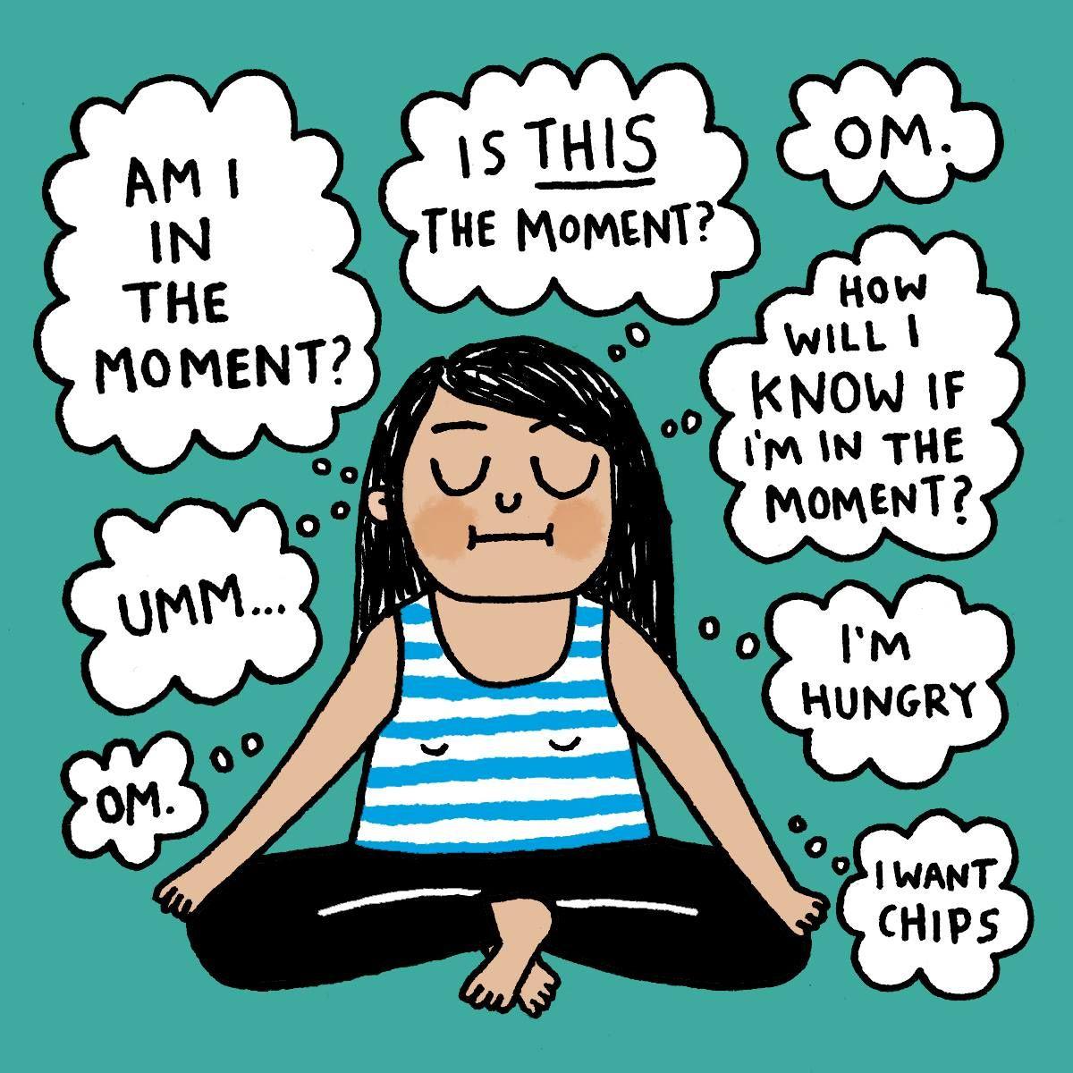 Meditation. Yoga funny Cartoon By Gemma Correll Yoga