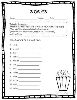 Plural Nouns s or es sort, foldable, and worksheet | Esl education ...