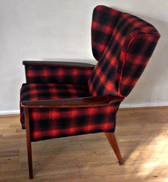 Parker Knoll Wing Armchair Upholstered In Red And Black Wool Plaid, By Eclectic  Chair Upholstery