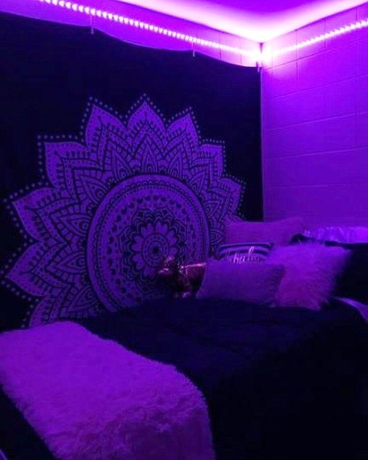 Black ombre tapestry led lighting bedroom