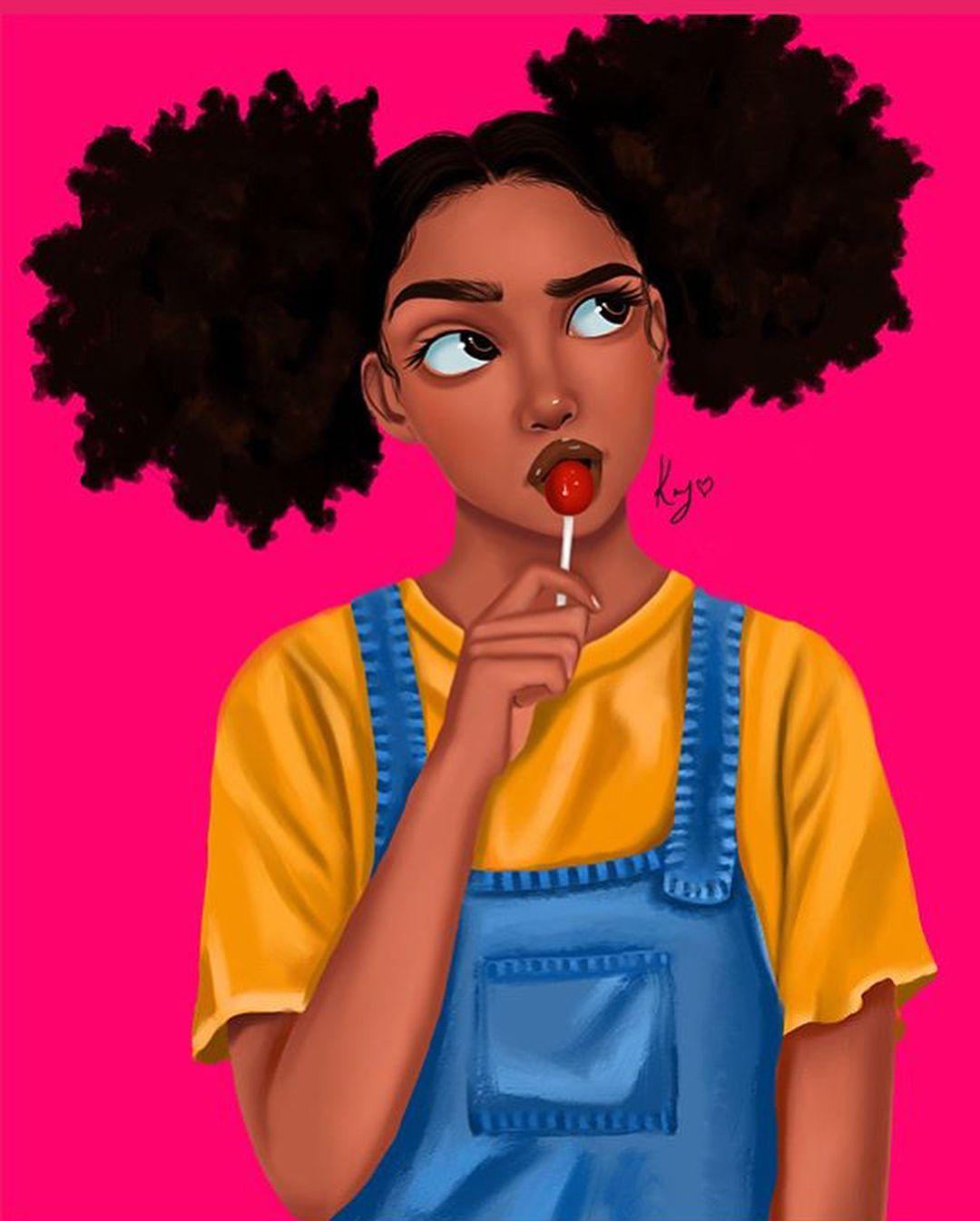 Art princess__kay_ melaningram black girl magic art