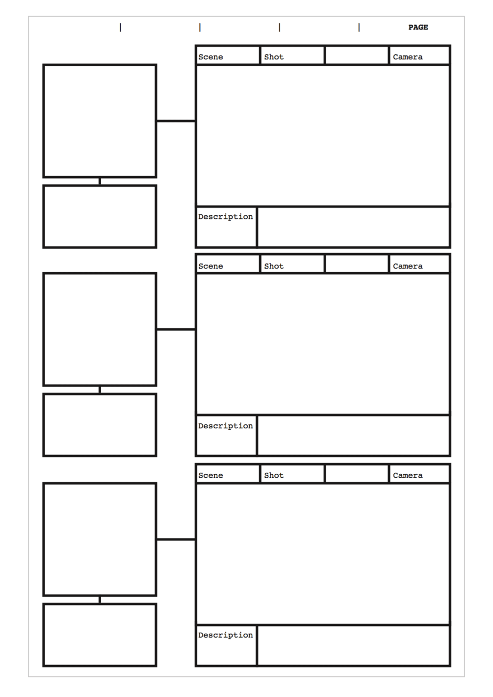 free pdf storyboard template for 16 9 aspect ratio with set plan boxes a4 vertical in 2020