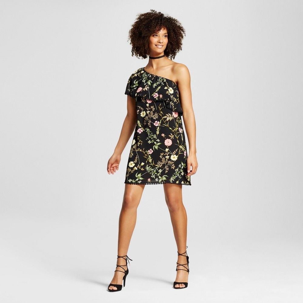 Women\'s One Shoulder Flounce Shift Dress - Xhilaration (Juniors ...