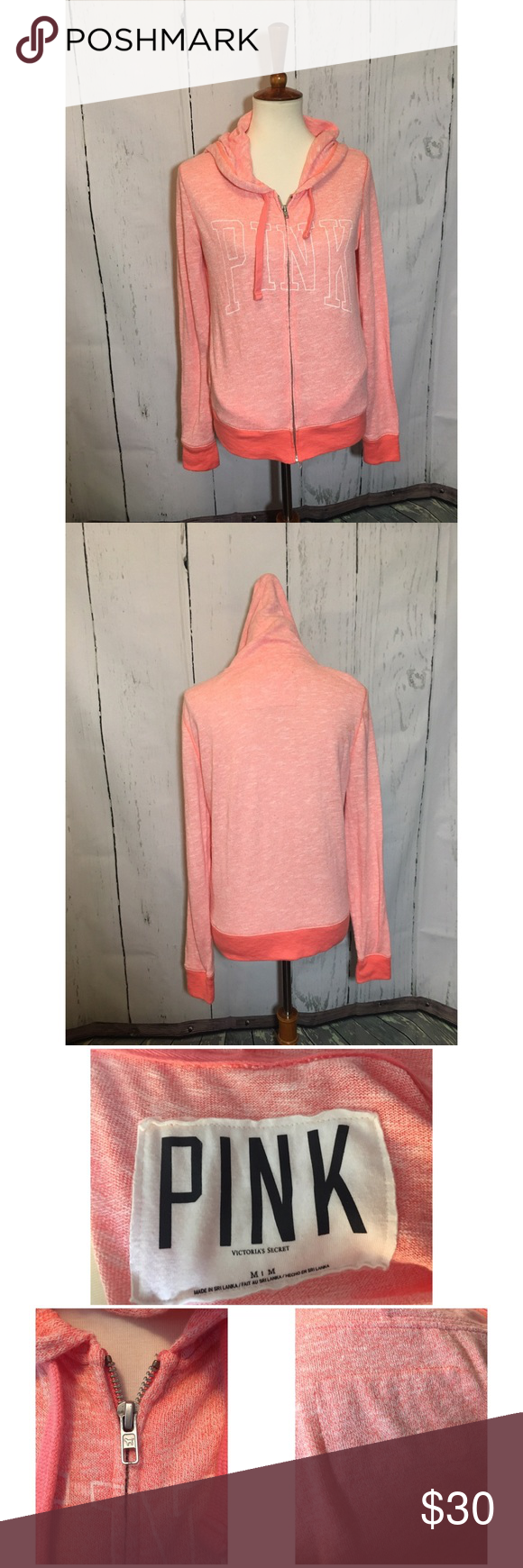 Coral PINK zip up sweater size M Cute PINK sweatshirt in such a ...