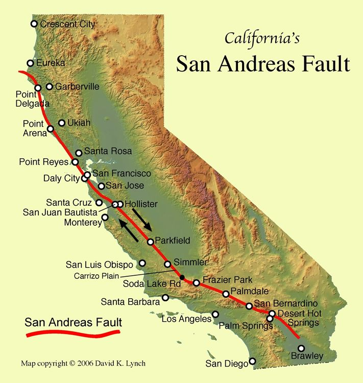 photo of the san andreas fault near gorman california showing gray rocks of the pacific plate along side the tan rocks of the north american plate