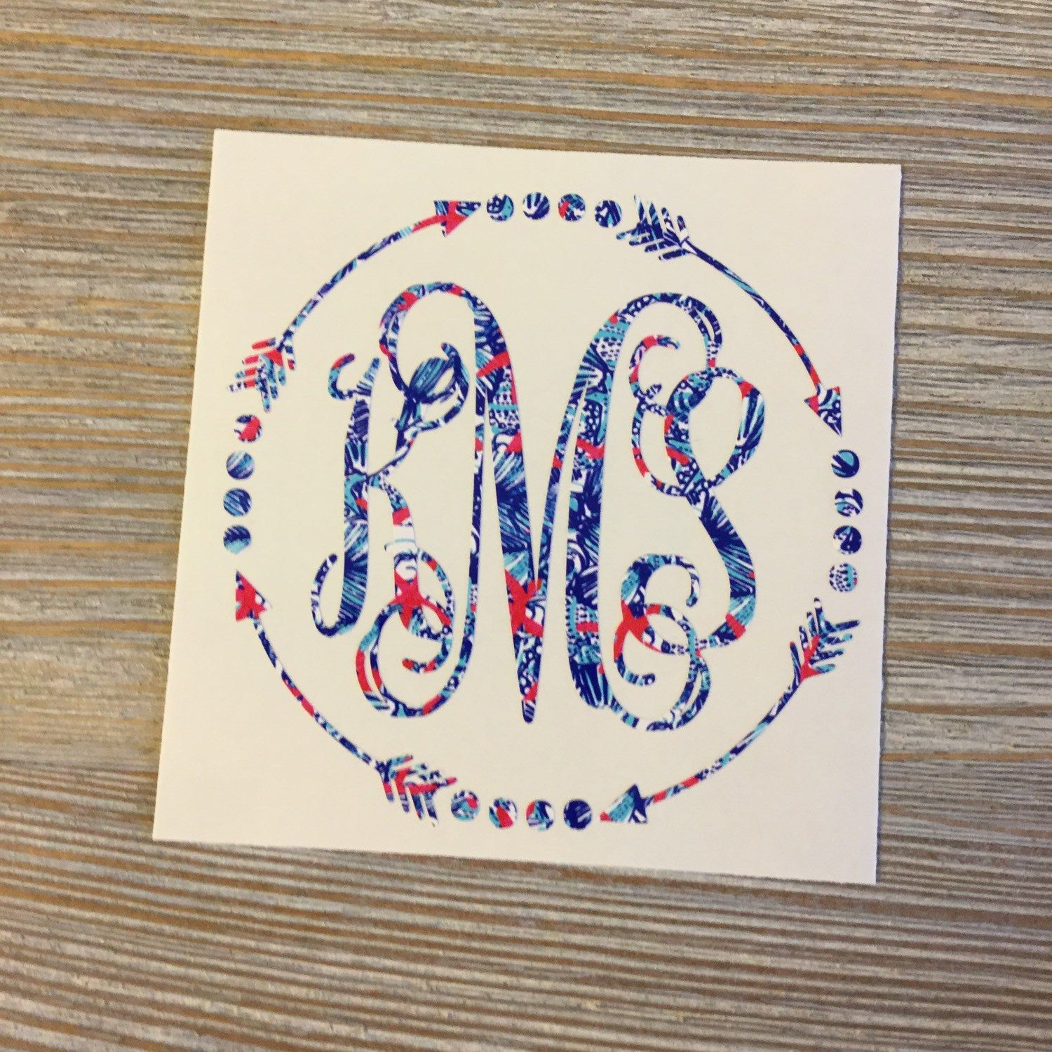 Yeti Monogram Decal Yeti Decal Monogram Decal by TheSaltyKiss