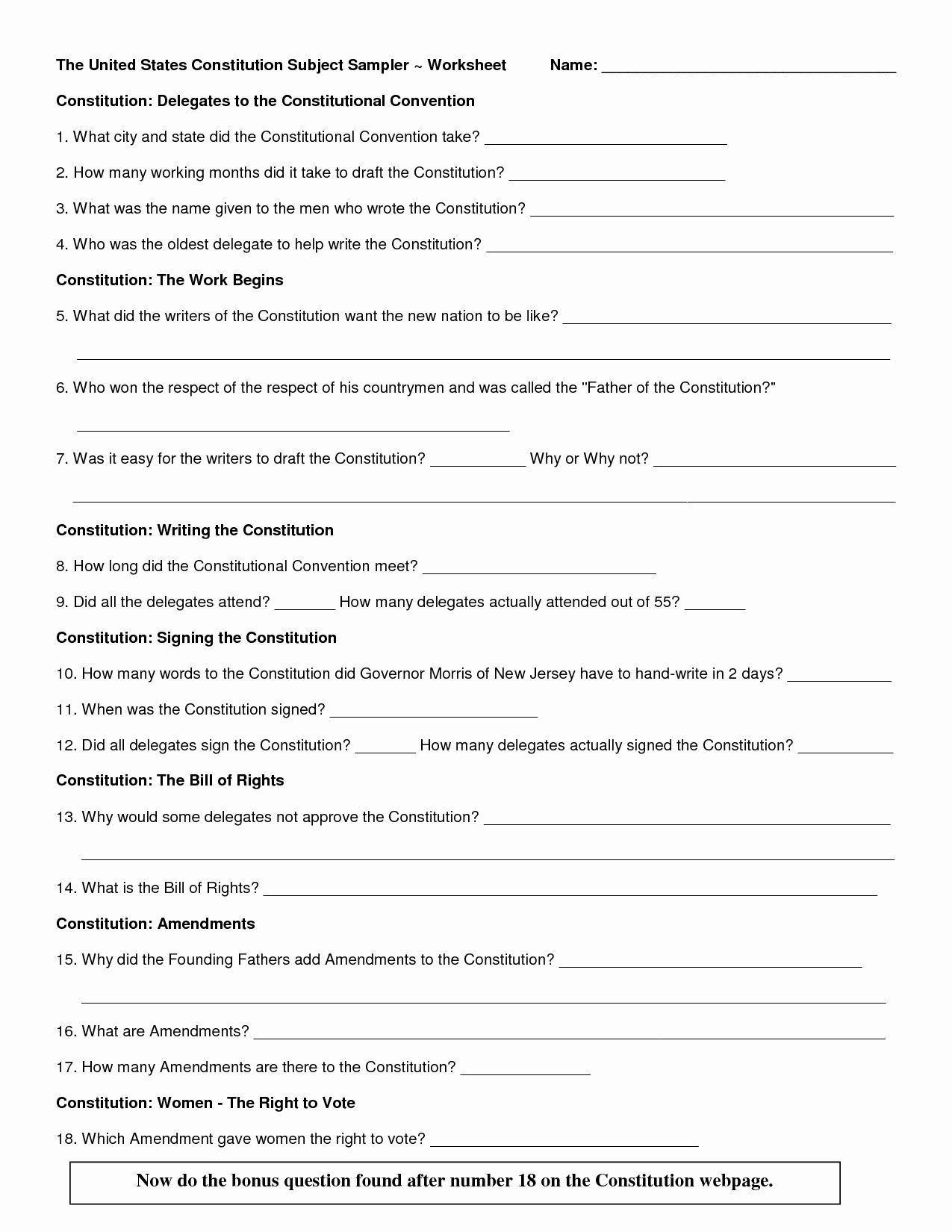 The Us Constitution Worksheet Luxury Constitution Test By