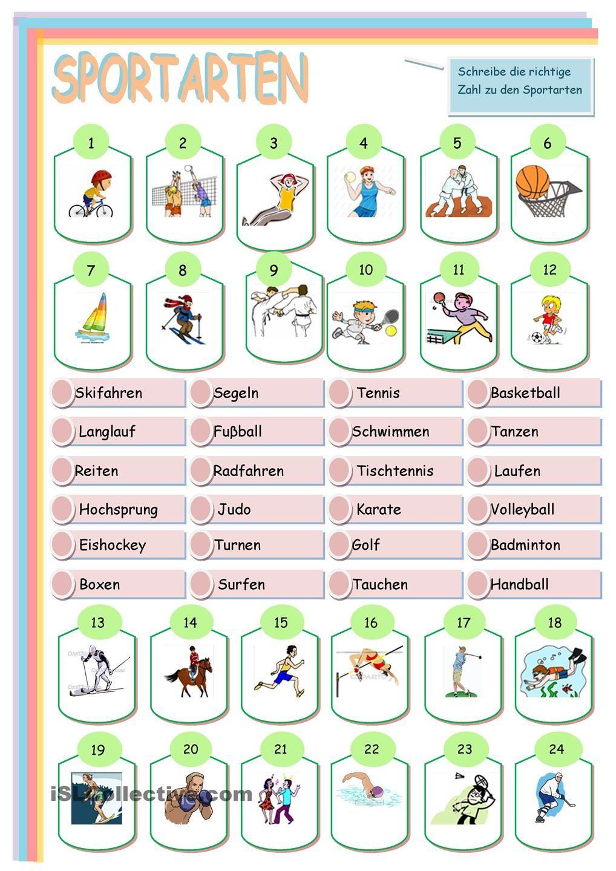 Sportarten | Sportarten, Deutsch und Wortschatz