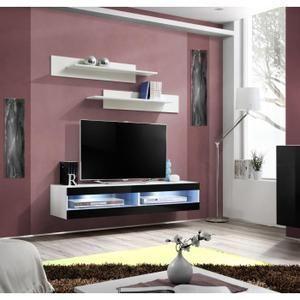 PRICE FACTORY - Meuble TV FLY design, coloris bla   Salon moderne ...