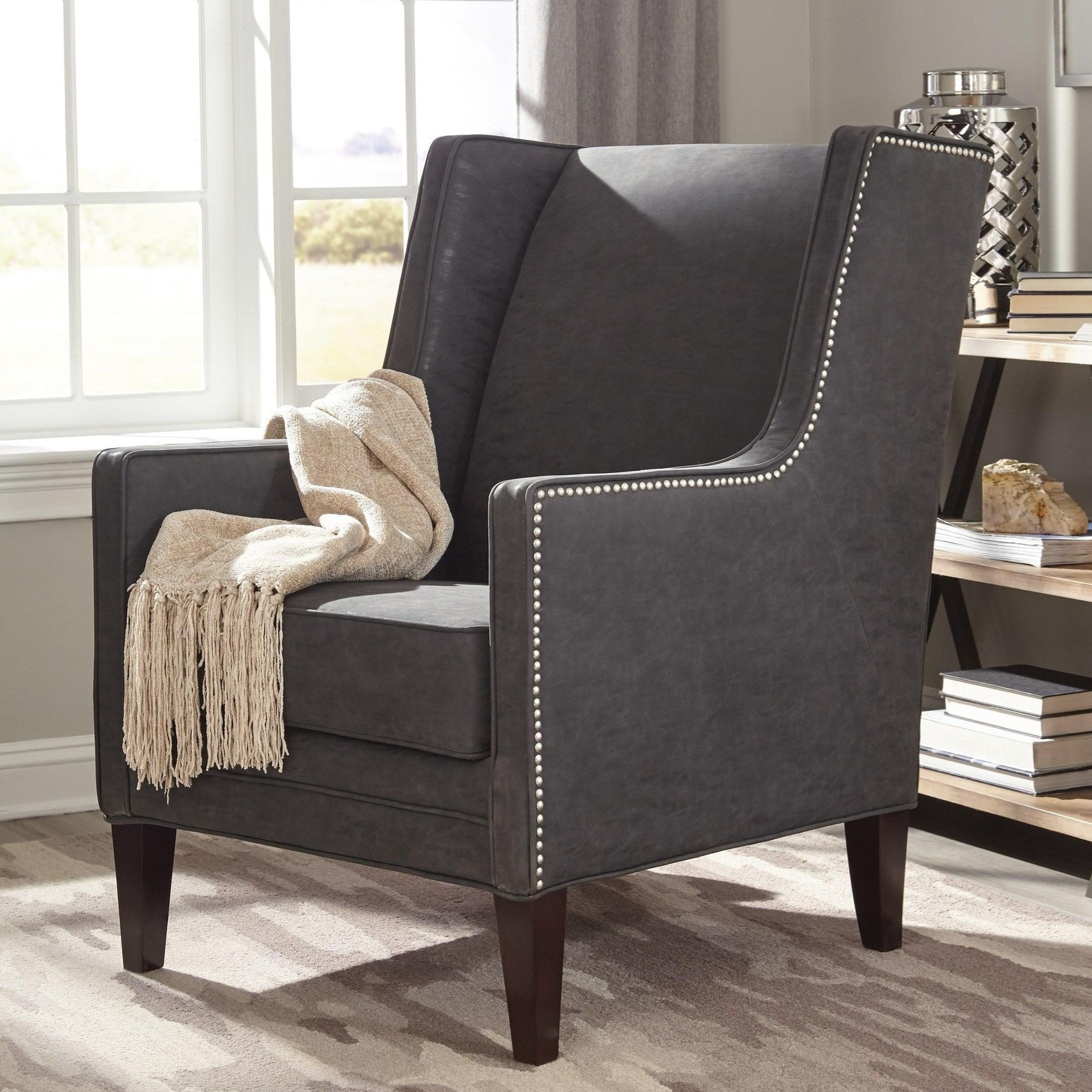 Best Wingback Modern Design Living Room Charcoal Grey Accent 400 x 300