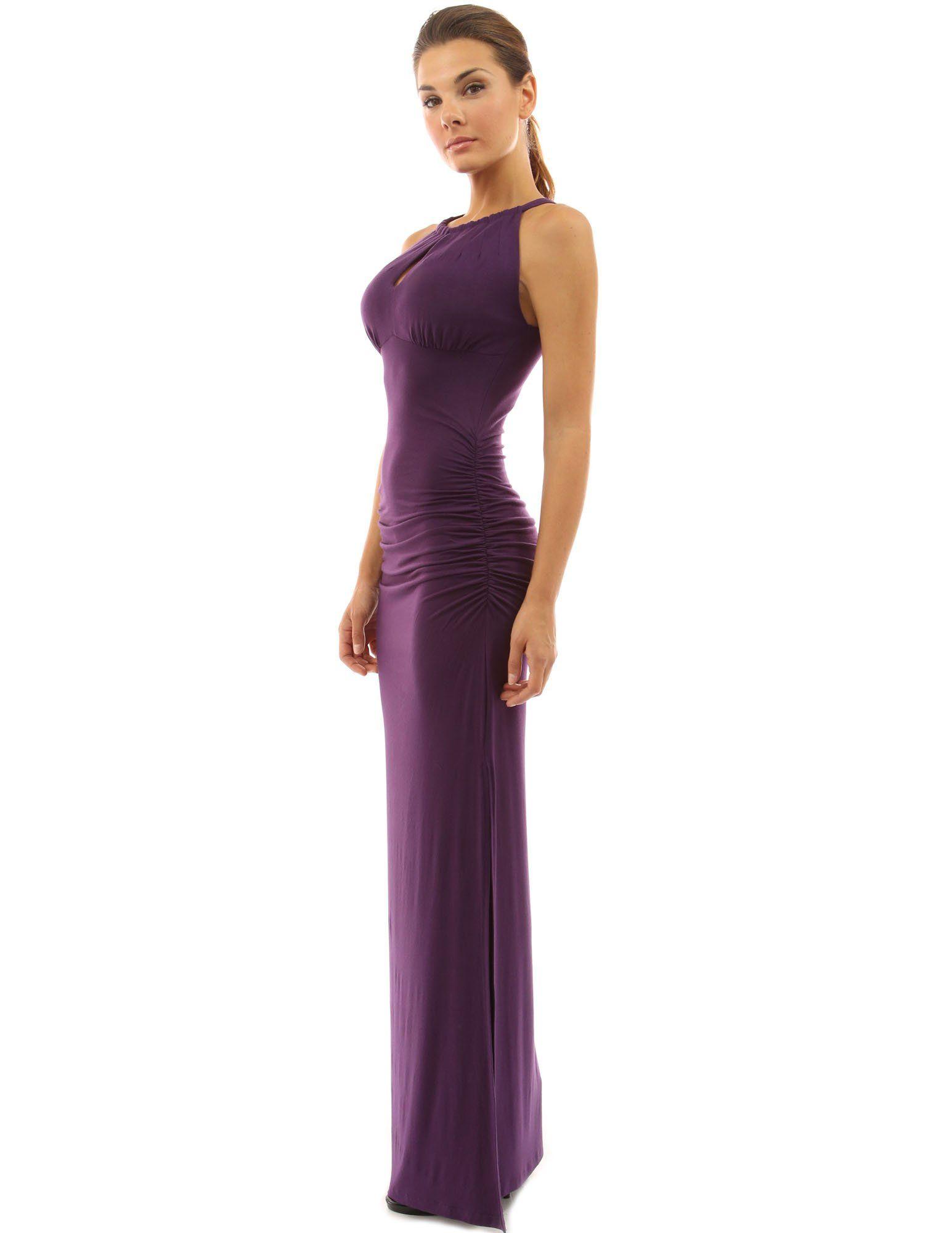 Pattyboutik womenus keyhole ruched sides slit maxi dress fashion