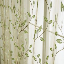 Embroidered Window Curtain Voile Custom Made Tulles Sheer Curtains Green Leaves For Living Room Sheer Curtains Home Curtains Custom Made Curtains