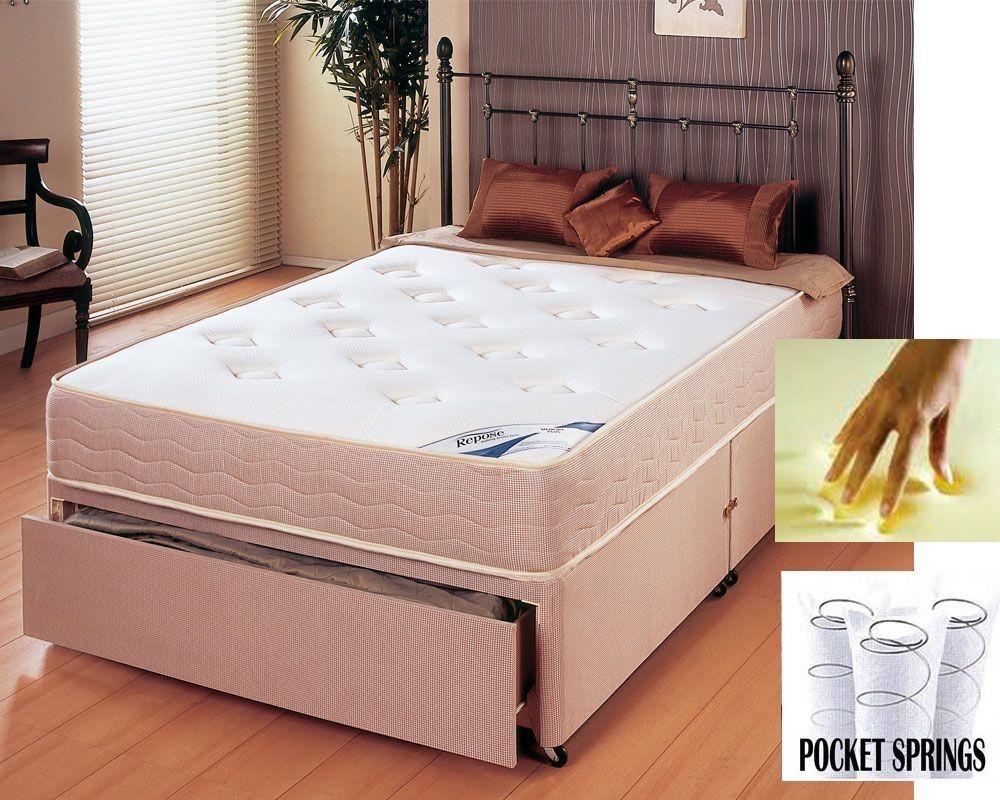 memory pocket 600 three quarter 3 4 end drawer divan bed drawers