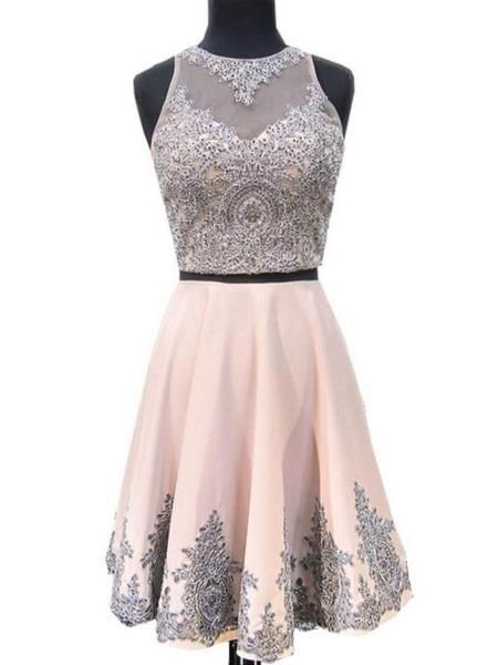 212773bb1f 2 Pieces Halter Dusty Pink Short Cheap Homecoming Dresses 2018 ...