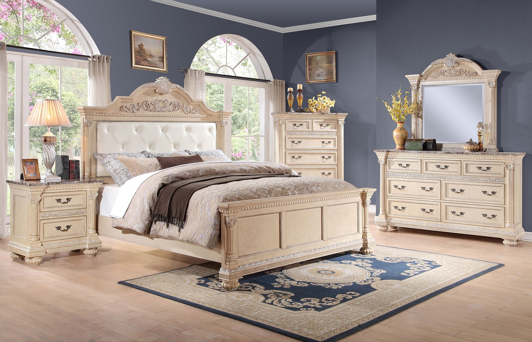 Gentil Homelegance Russian Hill 4 Pc Bedroom Set In Antique Whitewash Finish   USA  Warehouse Furniture
