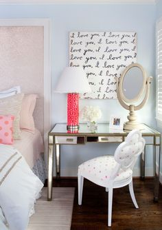 a desk that works both as a work table and a nightstand with a lamp - Bedroom Ideas For Women