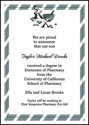 Show your pride in your new doctor and his medical school - inauguration invitation card sample