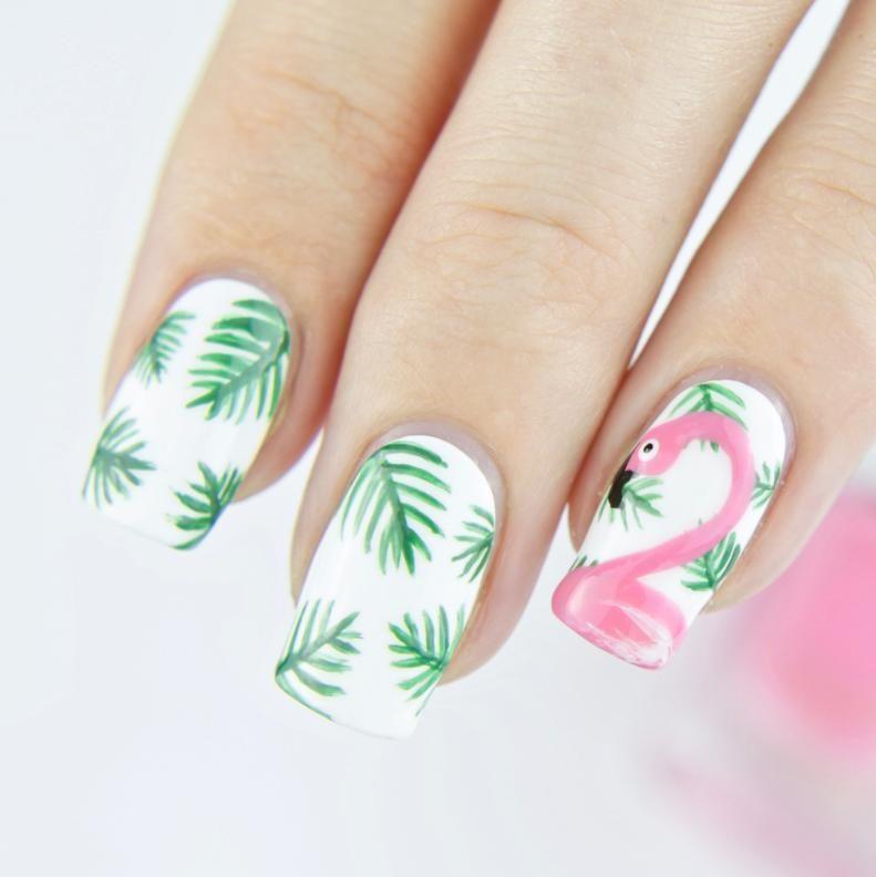 Modele Unghii De Vara Cu Flamingo Nail Art Tutorial Nail Art Summer Nail Art Designs Summer