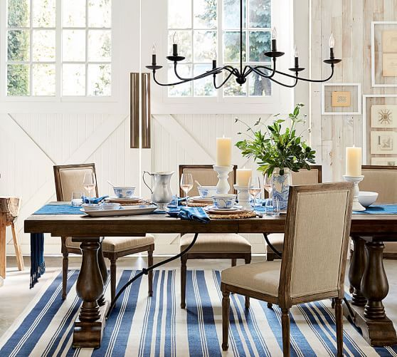 Lucca Chandelier Extendable Dining Table Farmhouse