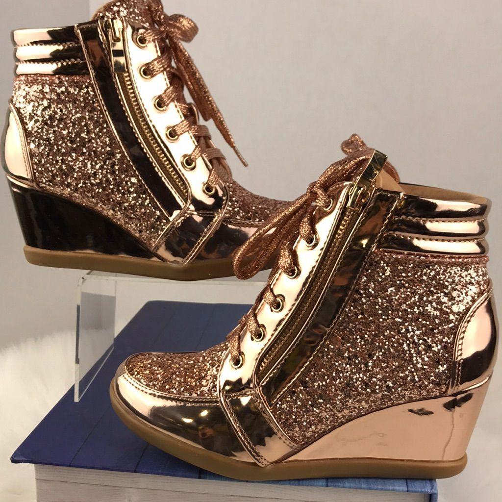 Rose gold wedges, Wedge sneakers