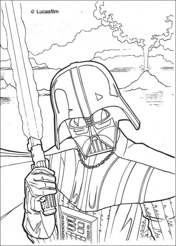 Fighting Darth Vader coloring page More Star Wars coloring sheets