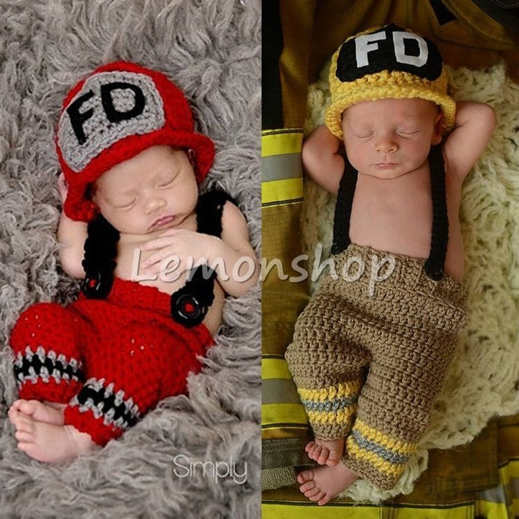 Newborn Baby Girl//Boy Crochet Knit Costume Photography Prop Outfits Firefighter