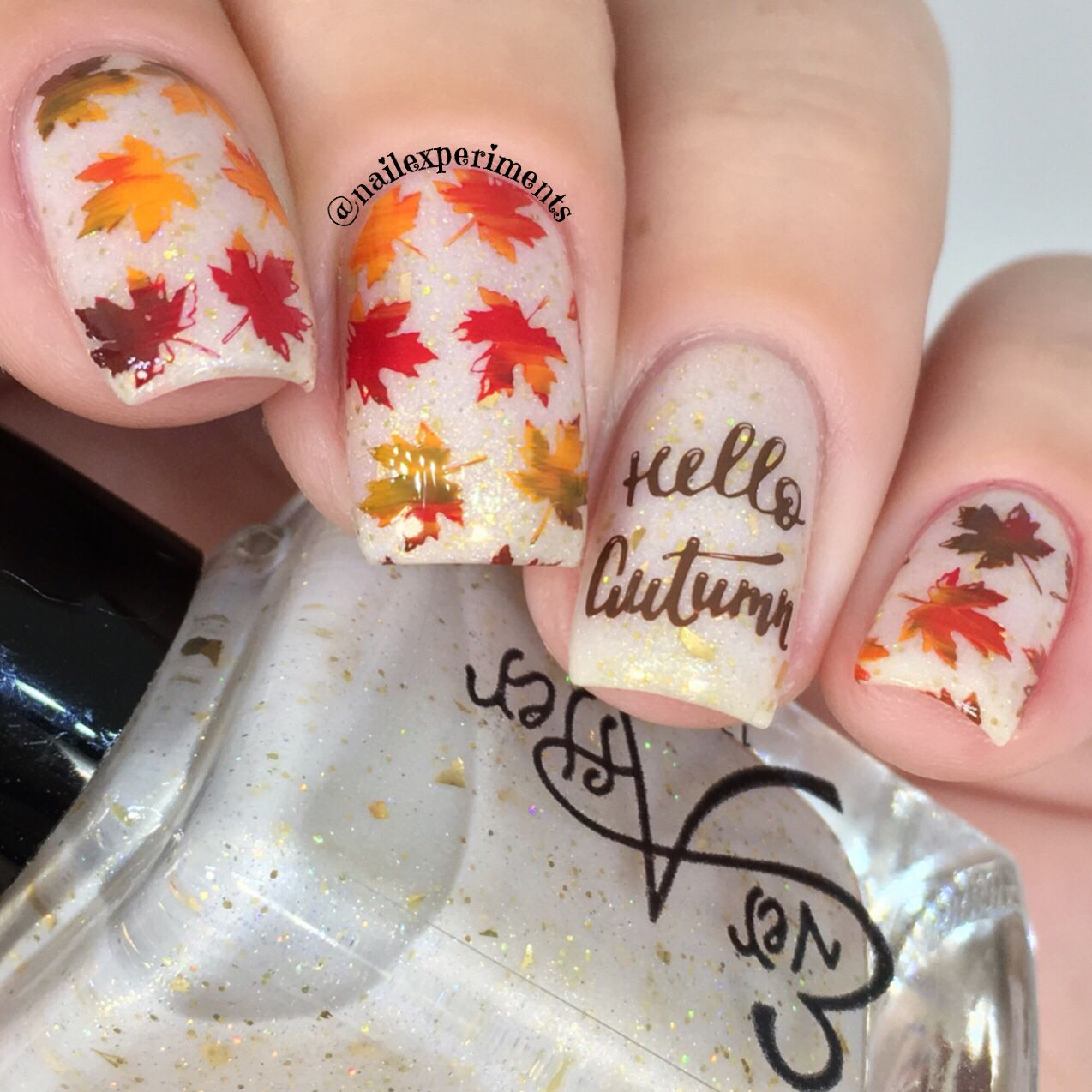 Easy fall/autumn leaves nail art