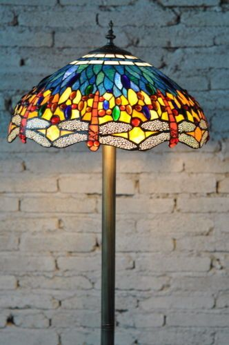 18 leadlight large classical blue dragonfly tiffany style floor 18 leadlight large classical blue dragonfly tiffany style floor lamp rrp329 ebay aloadofball Choice Image