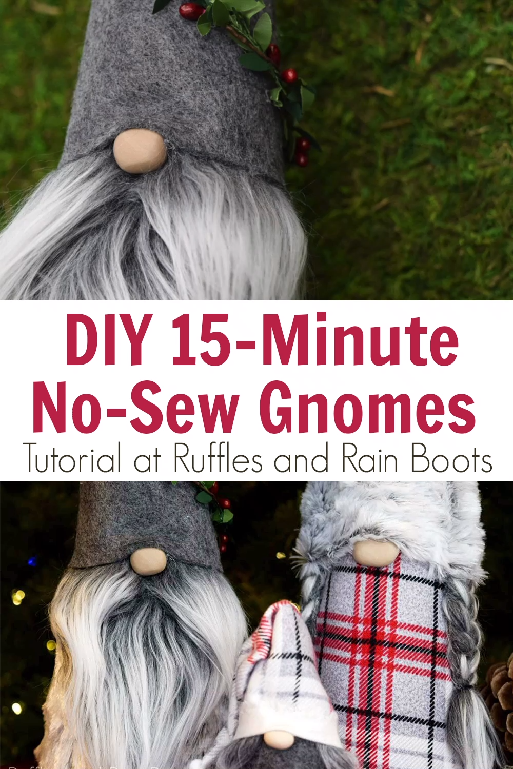 Learn how to make a gnome the easiest way using this no sew cone gnome tutorial. I've made it simple, fast, and most of all fun to make a family of coordinating Christmas gnomes for your home or for others. #gnome #christmasgnome #gnometutorial #rufflesandrainboots